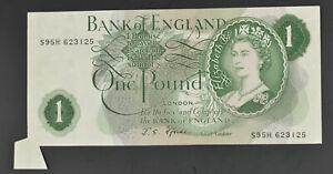 FISHTAIL ERROR RARE B305 FFORED 1967 ONE POUND £1 BANKNOTE S95H 623125 - EF