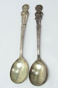 Vintage Pair IS Campbell's Soup Campbell's Kids Boy & Girl Spoons Silver Plate