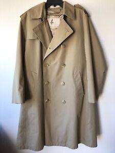 Mens 40 Reg Tan MISTY HARBOR Rain Trench Coat Removable Faux Fur Lining Beige