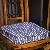 French Mattress Seat Cushions -Blue Stripe- Pack of 6  Rustic Look Comfort Chair