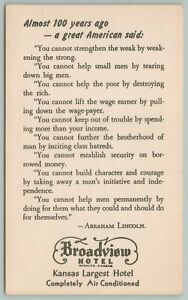 Wichita Kansas~Broadview Hotel~Poem From Abraham Lincoln~Vintage Postcard