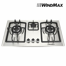 """Cook Top Gas 28"""" Stainless Steel 3 Burners Built-In Stove NG Gas Cooktop Cooker"""