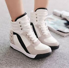 Ladies High Top Rivet Casual Trainers Boots Girls Mid Wedge Heels Sneakers Shoes