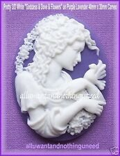 2 PRETTY 3/D WHITE GODDESS & FLOWERS/DOVE on PURPLE LAVENDER 40mm x 30mm CAMEOS