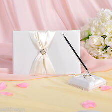 GB11b Ivory Bow Rhinestone Wedding Ceremony Satin Guest Book and Pen Set