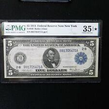 1914 $5 FRN  New York, Fr # 849, PMG 35 EPQ*, Choice Very Fine, Burke/Glass