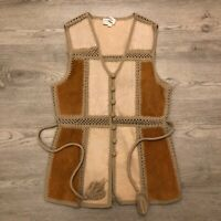Barbara Lee 100% Genuine Leather Acrylic Trim Button Cowgirl Western Vest Sz L
