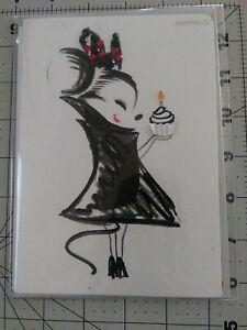 Papyrus Jeweled Minnie Mouse Holding Birthday Cupcake Happy Birthday Card
