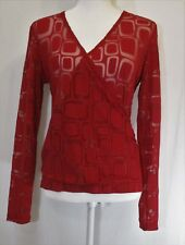 New York & Co. Women's Red Faux Wrap Ruched Long Sleeve Blouse Size M