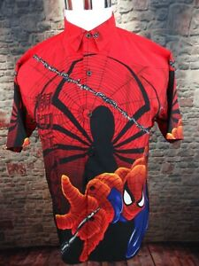 SPIDERMAN 2002 MARVEL Comics Youth L 16-18 Shirt Large Print Button Up