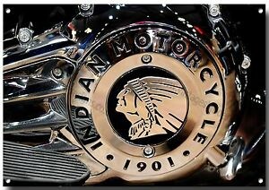 """""""INDIAN MOTORCYCLE ENGINE"""" HIGH GLOSS FINISH FINE ART METAL SIGN.27"""
