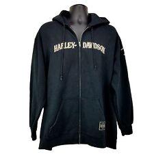HARLEY DAVIDSON Men's XL Black Embroidered Long Sleeve Full Zip HOODIE Jacket