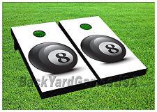 CORNHOLE BEANBAG TOSS GAME w Bags Game Board 8 Ball Black Billards Set 666