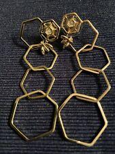 Long Gold Tone Honeycomb Bee Rhinestone Dangle Earrings Boho Nature Mary Kay ?