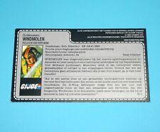 1988 GI JOE WINDMILL v1 SKYSTORM PILOT UNCUT FILE CARD NL DUTCH HASBRO BENELUX