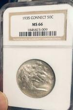 1935 Connecticut Commemorative Silver Half Dollar - NGC MS 66- Mint State 66