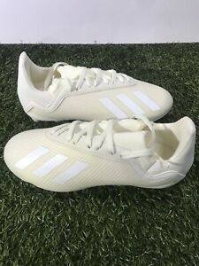 Adidas X 18.3 White/white soccer cleats Size 2.5 FG Boy's Only
