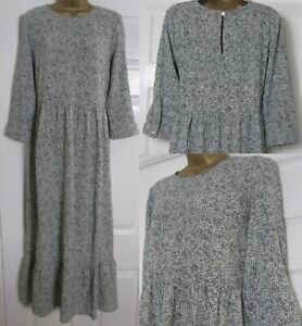 NEW Ladies Roman Black Ivory Animal Print Tiered Maxi Long Smart Dress 10-20