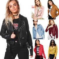 Womens Slim Biker Jacket Ladies Motorcycle PU Soft Leather Zipper Bomber Coats