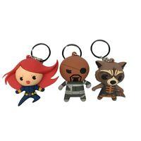Lot of 3 Monogram Marvel Comics Series Keychain - Black Widow - Shield - Raccoon