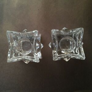 Star Clear Glass Candle Holders Set Of Two