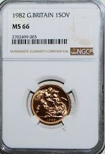 1982 GOLD SOVEREIGN GREAT BRITAIN SOV UK COIN NGC MS66 BU GEM