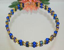 TRAUM KETTE WÜRFEL marmoriert royal blau türkis PERLE blau HÄMATIT gold 495.