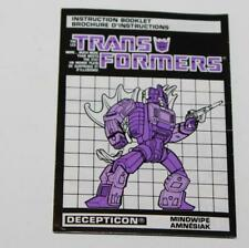 Hasbro Transformers G1 Mindwipe Bi-Lingual Canadian Instruction Booklet