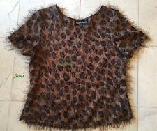 LEOPARD Print Cap Sleeve FUZZY Eyelash Fashion Blouse Top *MINT* EUC