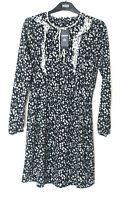 M&S Limited Edition Sizes 12 16 Long Sleeve Navy Mix Ruffle Dress Bnwt