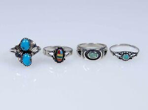 Silber - 4 vintage alte Ringe  Indianerschmuck - Navajo, Zuni - Konvolut