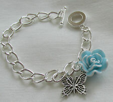Turquoise & White Fimo Flower & Silver Butterfly Charm Handmade Bracelet