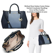 Michael Kors Sutton Centre Stripe Navy Blue Saffiano Leather Satchel w/ Dustbag