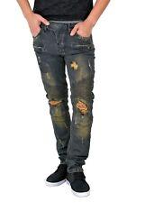 Men's biker Skinny jeans, premium Ripped Distressed stretch denim (J17025M)
