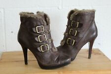 BROWN LEATHER VICTORIAN STEAMPUNK HIGH HEEL ANKLE BOOTS SIZE 6.5 BY AUTOGRAPH