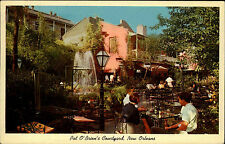 New Orleans Louisiana vintage postcard 1968 At Pat O'Brien's Courtyard Terrasse