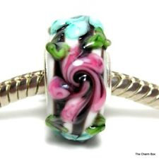 Opaque White with Pink/Blue Flowers Murano Glass European Bracelet Charm Bead