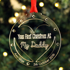 First Christmas as Daddy Mummy Parents Personalised Bauble Baby Keepsake Gift