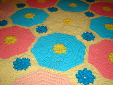 Handmade Handcrafted Floral with Multi-Color Crochet Afghan Throw Blanket
