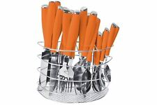 24pc Coloured Handle Cutlery Set with Cutlery Holder - Stainless Steel, Orange