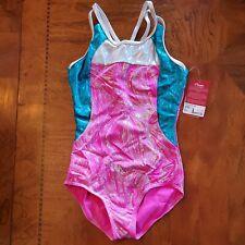 Capezio Gymnastics Leotard Pink Blue Silver Child Medium NWT