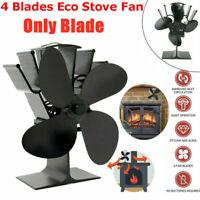 UK 4-Blades Wood Stove Fan Heat Powered Eco Fireplace Fan Log Burner Fuel Saving
