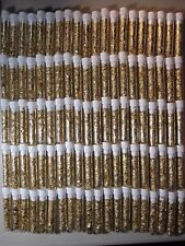 10 LARGE GOLD LEAF FLAKES VIALS LOT FILLED FULL 24K YELLOW LUSTER NO PURE WATER