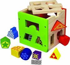 Eichorn Wooden Multicolour 15 piece Shape Sorting Box Brand New