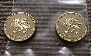 2000 Welsh Dragon PROOF + BU 2 x £1 pound coin Royal Mint