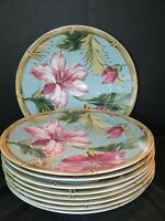 """222 Fifth Avenue Hibiscus Bamboo Edge Pink Flowers 9 Dinner Plates 10 1/2"""""""