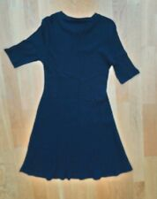 Zara Trafaluc black ribbed stretch cotton dress flared skirt size L never worn