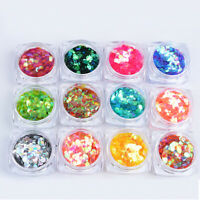 12 Colors Mermaid Round Sequins NAIL ART ACCESSORIES Manicure For Gel Polish