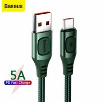 Baseus 5A USB to Type-C Charger Cable Fast Charge Lead Data Cord for Samsung LG