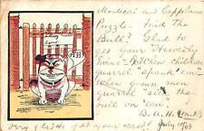 BULLDOG ARTIST SIGNED SPANKING MESSAGE COMIC POSTCARD 1908